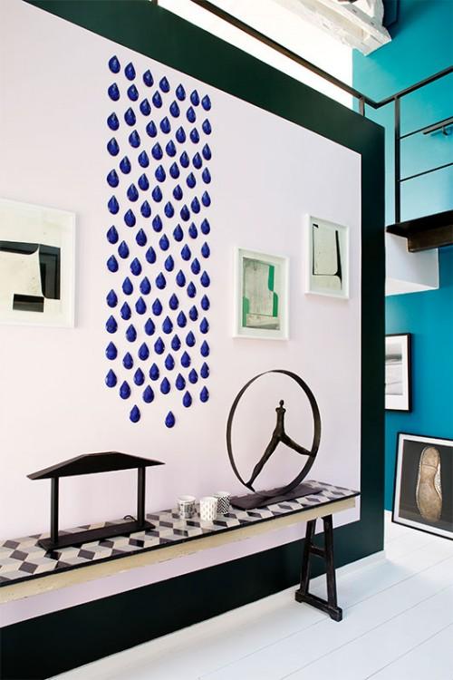 עבודות אמנות של ג'ולי צ'אנג, היוצרות תבליט דמוי טיפות גשם | צילום: Francis Amiand