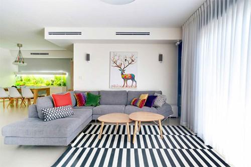 לסלון הבית נבחרו ספה אפורה, כריות צבעוניות ושטיח פסים שחור לבן | צילום: אביבית וייסמן