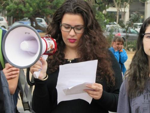 אלישע בהפגנה בכיכר רבין בתל אביב | צילום: נחמה שימנוביץ