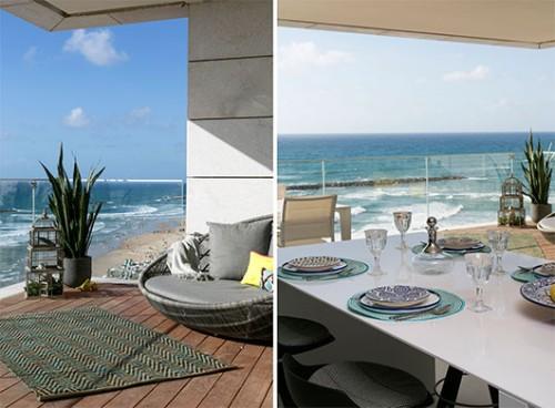 פינות האירוח תוכננו כדי שיתאימו לכל סיטואציה, מארוחה פורמלית ומשפחתית עד אירוח במרפסת מול הים   צילום: שירן כרמל