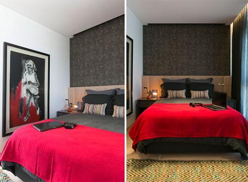 """עבור חדר השינה של הבן נבחרה פלטת גוונים בוגרת ש""""הוצערה"""" בעזרת נגיעות צבע אדום וגוף תאורה הומוריסטי   צילום: שירן כרמל"""