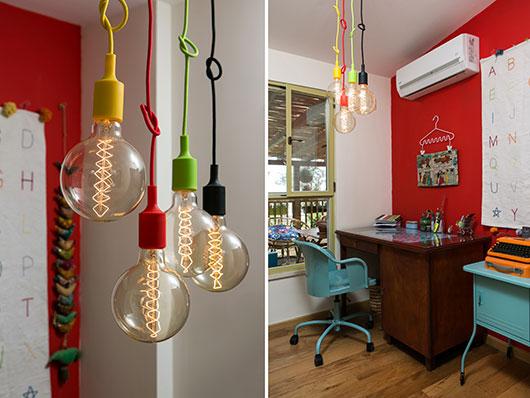 . צבעוניות חזקה היא המוטיב המרכזי בעיצוב גם בפרטים הקטנים: בתי מנורה צבעוניים (ביתילי) | צילום: שירן כרמל