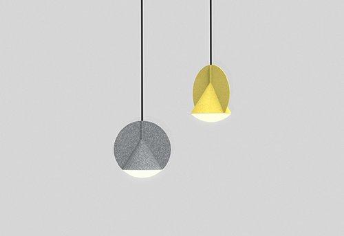 ה- Stamp lamp של Outofstock ממזגת שתי צורות גיאומטריות בסיסיות לאובייקט הרמוני אחד