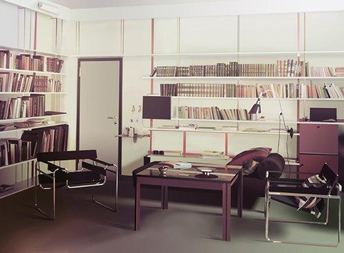אדריאן זאואר | מגורי מנהל הבאוהאוס ולטר גרופיוס, 2015 | עיבוד דיגיטלי של תצלום צבע (אגפא) מ-1926 או 1927 מארכיון באוהאוס, ברלין