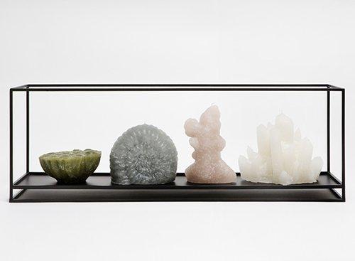 נרות מפוסלים בהשראת הטבע על מגש דמוי ארון תצוגה במוזיאון | צילום: Floor Knaapen