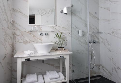 המקלחת עם כל הפינוקים הנדרשים   צילום: סיון אסקיו